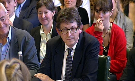 Alan Rusbridger, the editor of the Guardian, gives evidence to the media committee on 14 July 2009.