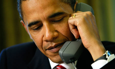 Barack Obama on the telephone, May 2009