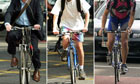 Cyclists wearing different outfits in London