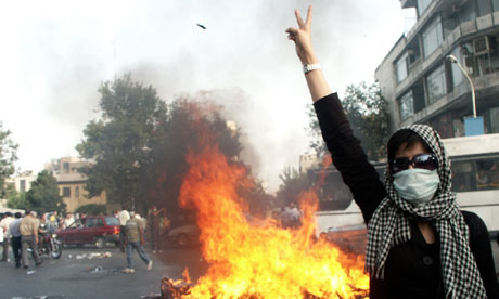 Iranian protester during an opposition rally in Tehran, July 2009