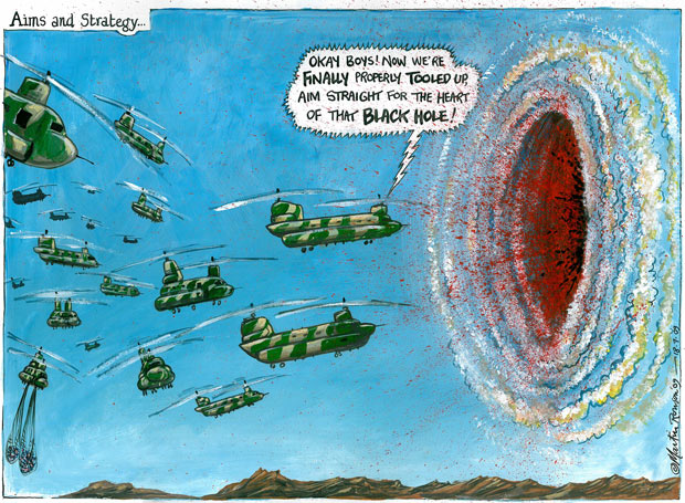 Aims and Strategy -- a cartoon by Martin Rowson