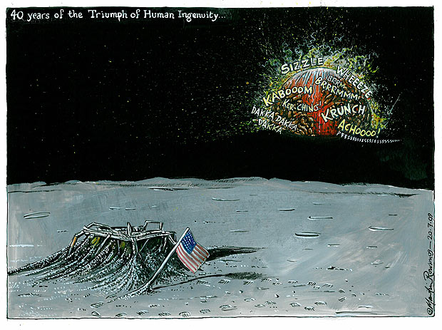 40 years of the Triumph of Human Ingenuity -- a cartoon by Martin Rowson