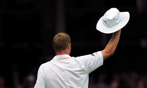 Andrew Flintoff waves to the crowd at Lord's