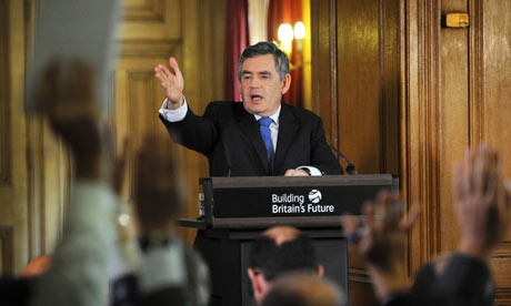 Gordon Brown holds his monthly press conference at Downing Street on 22 July 2009.