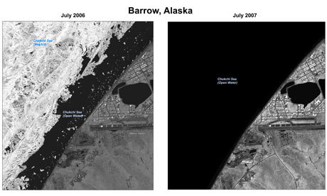Satellite images of polar ice sheets taken in July 2006 and July 2007 showing the retreating ice during the summer. Photograph: Public Domain