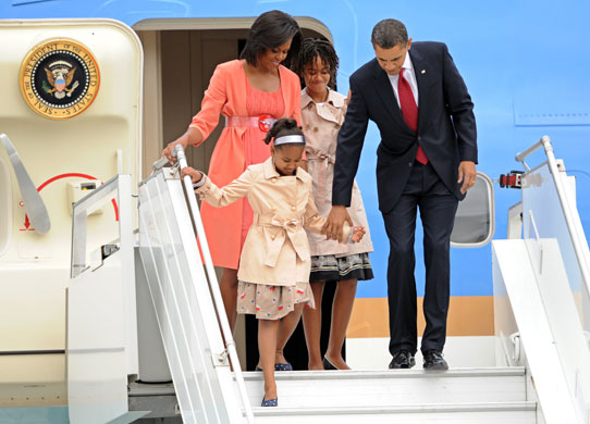 Obama in Russia: Barack Obama with Michelle, Sasha and Malia leave Air Force One