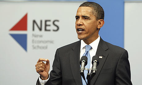 Barack Obama giving a speech in Moscow