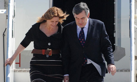 Gordon Brown arrives at the G8 summit with his wife Sarah