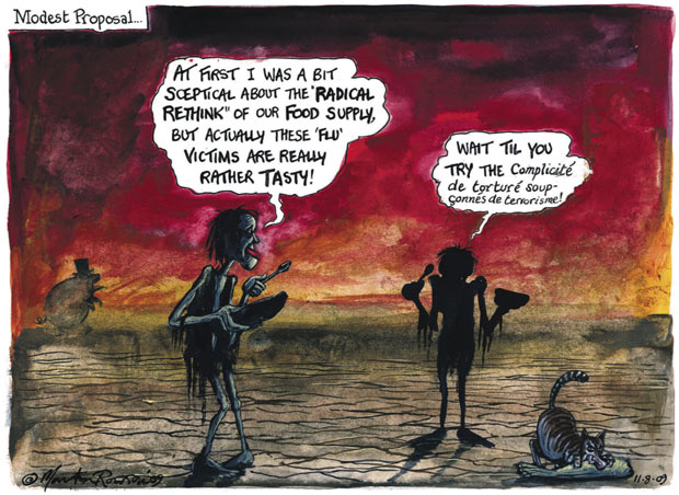 Modest Proposal a cartoon by  Martin Rowson