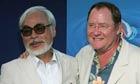 Hayao Miyazaki and John Lasseter at a screening of Walt Disney Pictures' Ponyo.