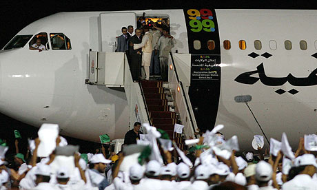 The Lockerbie bomber Abdelbaset al-Megrahi arrives in Tripoli