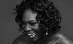 Serena Williams B&W laughing