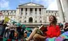Camp for Climate Change: campaigners outside the Bank of England, in the City of London