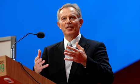 Tony Blair at a press conference in Rimini, Italy, on 27 August 2009.