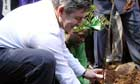 Gordon Brown planting a tree in Kenya