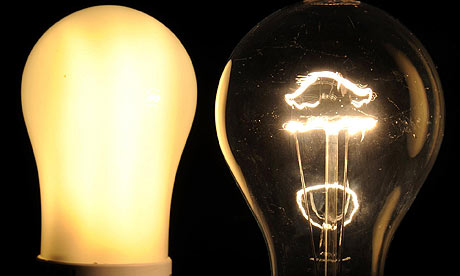 An energy-saving lightbulb and a traditional one.