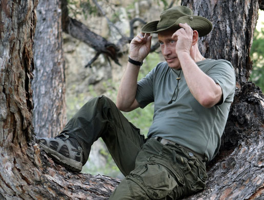 Putin on vacation: Russian Prime Minister Vladimir Putin adjusts his hat as he sits in a tree
