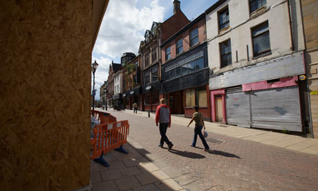 Boarded-up shops in Rotherham, July 2009