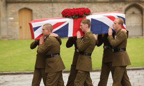 Six pall-bearers bear the coffin of Harry Patch at his funeral