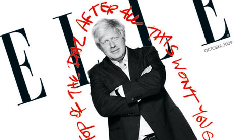 Boris Johnson in the October issue of Elle magazine. Photograph: Henry Bourne/Elle magazine