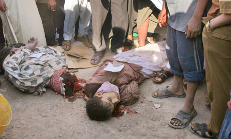 The bodies of gays on the streets of Iraq. Photograph: Bilal Hussein/AP