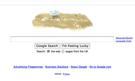 www.google.co.uk homepage with crop circles logo