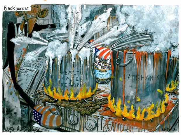 Martin Rowson cartoon - Backburner - US scraps plans for missile defence shield in central Europe