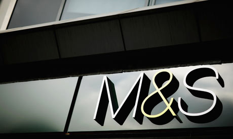 A Marks and Spencer signage is seen in London