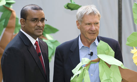US actor Harrison Ford and Guyana's President Bharrat Jagdeo at a news conference about forest protection on September 21, 2009 in New York. Photograph: Don Emmert/AFP/Getty Images