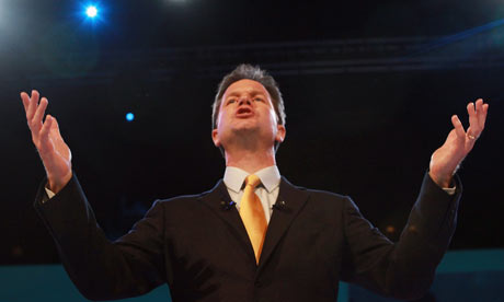 Nick Clegg addresses the Liberal
