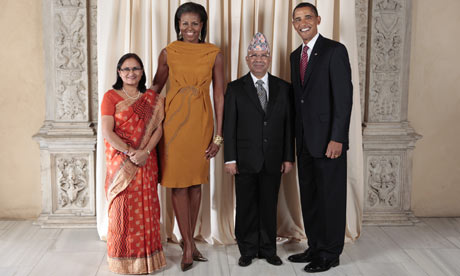 Barack and Michelle Obama with Mr and Mrs Nepal