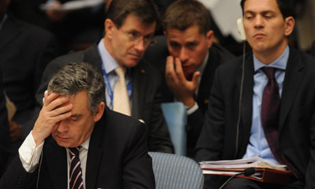 Gordon Brown and David Miliband at the UN Security Council in New York, Sept 2009