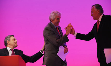 Gordon Brown, Rhodri Morgan and Peter Hain at the Labour conference in Brighton on 27 September 2009