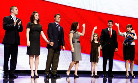 Sarah Palin and her family at the Republican convention in 2008