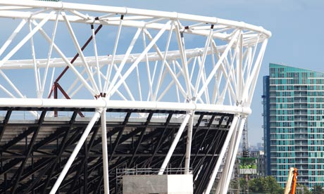 The Olympic Stadium under construction in east London in July 2009.
