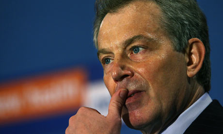 Prime Minister Tony Blair sweats as he gives a speech on the future of the National Health Service.