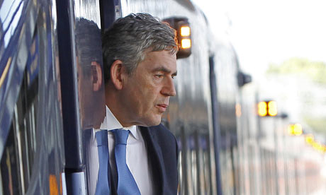 Gordon Brown getting off a train