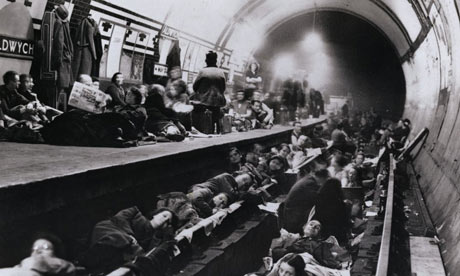 Londoners shelter in a tube station during the s