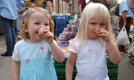 Children at Clapham farmers' market