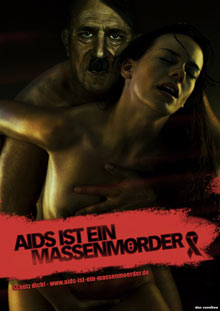 'Das Comitee' ad shows a poster of the 'Aids is a mass murderer' campaign featuring Adolf Hitler