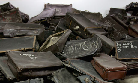 A pile of suitcases at Auschwitz