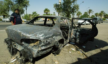 Car torched in protest at the site of Blackwater shootings