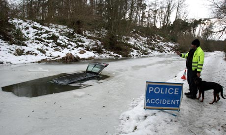 This is what happens when you drive a car down a frozen canal