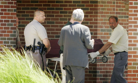 Body of Dr. George Tiller is removed from the Reformation Lutheran Church in Wichita, Kansas