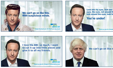 Some of the doctored David Cameron posters on the mydavidcameron website.