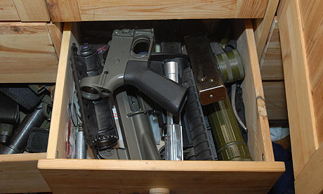 A drawer of weapons found at the home of BNP member Terrance Gavan. Photograph: West Yorkshire police/PA