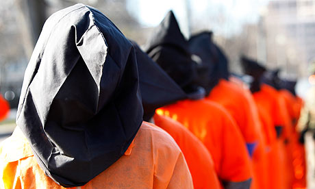 Human rights campaigners protest against Guantanamo Bay in front of the White House