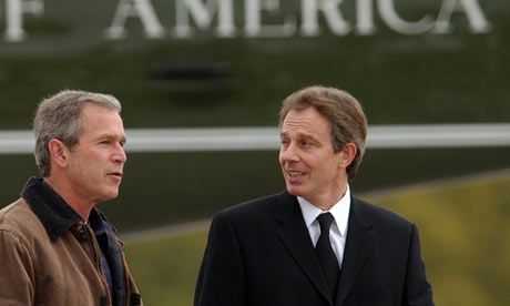 George Bush and Tony Blair in Crawford, Texas in April 2002.