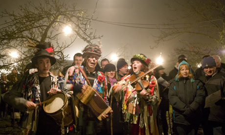 Morris dancers perform at the annual wassail ceremony.