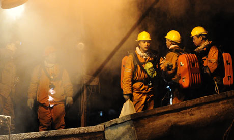 Rescuers at a Chinese mine
